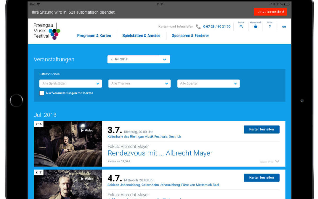 Rheingau Musik Festival – Bestell App